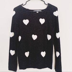 Lauren Conrad Heart Sweater Shimmer Black